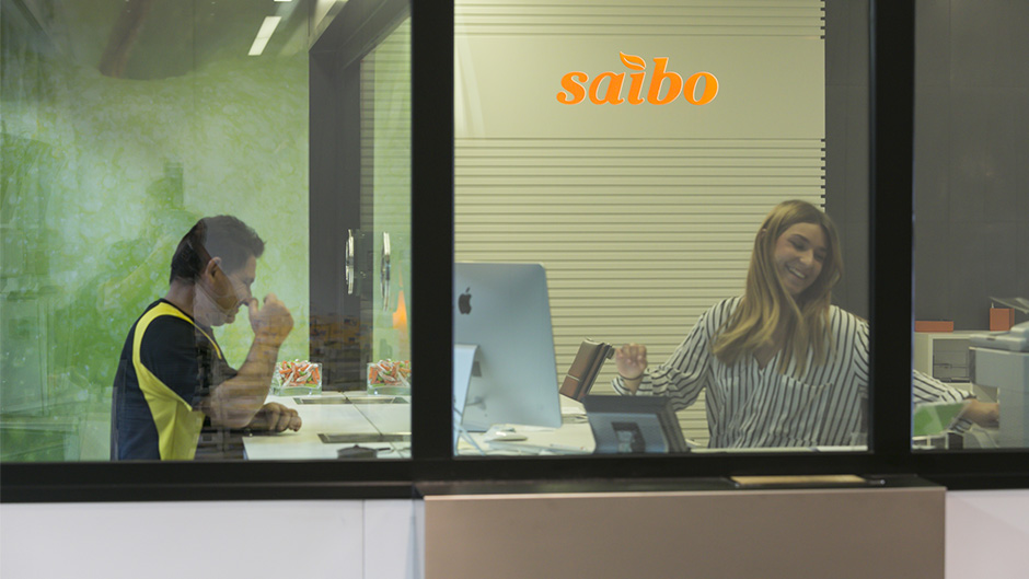 Diseño de identidad corporativa Saibo - Diseño de interiores rotulación de oficinas para empresa de alimentación - Estudio de diseño gráfico Valencia Pixelarte