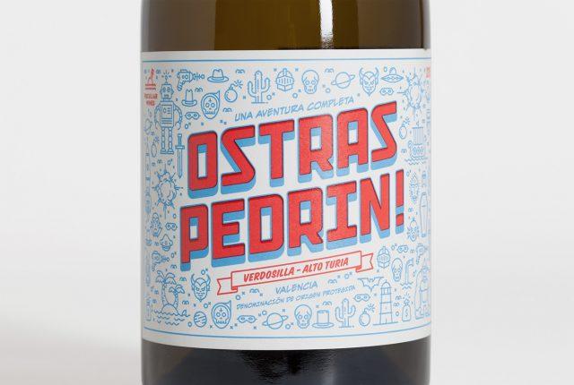 Diseño de etiquetas para vinos Ostras Pedrín - Diseño de packaging vino Bodegas Vicente Gandía - Diseño de labelling - Diseño de ilustración - Estudio de diseño en Valencia Pixelarte
